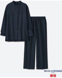 Uniqlo | Women Idlf Long-sleeve Striped Cotton Pajamas | Lyst