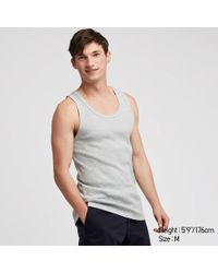 50b4be3031359 Uniqlo Men Packaged Dry Ribbed Tank Top in Gray for Men - Lyst