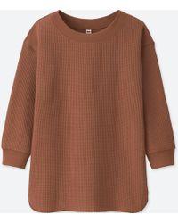 Uniqlo - Women Waffle Crewneck 3/4 Sleeve T-shirt - Lyst