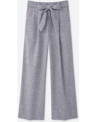 Uniqlo - Women Belted Linen Cotton Wide Straight Pants - Lyst
