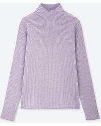 Uniqlo - Women Shiny Ribbed High-neck Sweater - Lyst