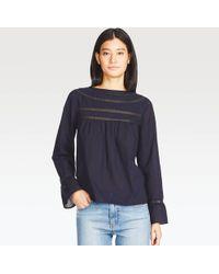 Uniqlo | Women Soft Cotton Lace Long-sleeve T-shirt Blouse | Lyst
