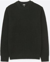 Uniqlo - Men Waffle Knit Crewneck Long-sleeve Sweater - Lyst