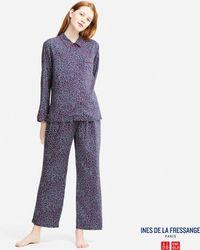Uniqlo | Women Idlf Long-sleeve Rayon Printed Pajamas | Lyst