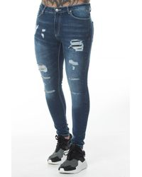 11 Degrees - Ripped And Repaired Skinny Jeans - Lyst