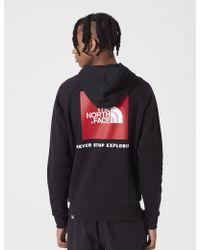 The North Face - Raglan Red Box Hooded Sweatshirt - Lyst