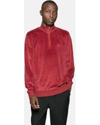 Stussy - Velour Long Sleeve Zip Mock Sweatshirt - Lyst