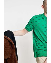 Lacoste L!ive - Allover Print Green Polo Shirt - Lyst