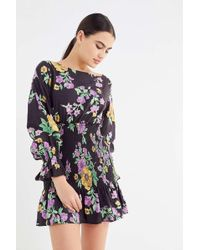 Urban Outfitters - Uo Leandra Smocked Long Sleeve Mini Dress - Lyst