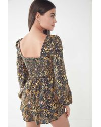 de74632c706 Lyst - Urban Outfitters Uo Floral Embroidered V-neck Romper in Black