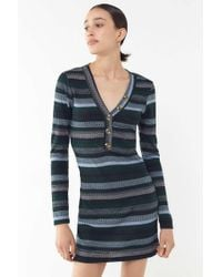 0dbb8680cf9 Urban Outfitters - Uo Striped Henley Mini Dress - Lyst