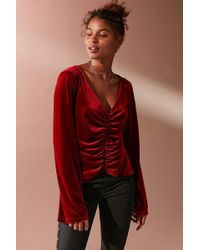 Urban Outfitters - Uo Marie Cinched V-neck Velvet Top - Lyst