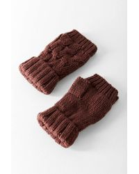 Urban Outfitters - Cable Knit Plush Fingerless Glove - Lyst