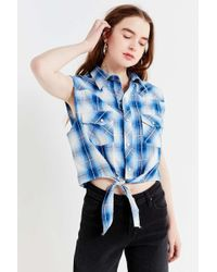 6ac558a084 Lyst - Urban Renewal Remade Tie Scarf Tube Top in Blue
