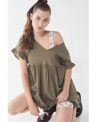 Urban Renewal - Remnants Linen Ruffle Sleeve Mini Dress - Lyst