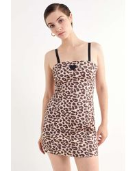 Lazy Oaf - Leopard Print Mini Dress - Lyst