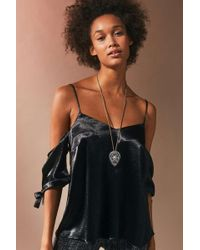Silence + Noise - Shiny Cold-shoulder Tie Top - Lyst