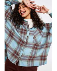 Urban Outfitters - Uo Brendan Turquoise Drapey Flannel Button-through Shirt - Womens Xs - Lyst