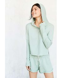 Out From Under - Cropped Washed Hoodie Sweatshirt - Lyst