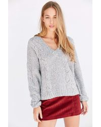 Kimchi Blue - Cable V-neck Pullover Sweater - Lyst