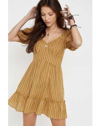 7561be72704 Urban Outfitters - Uo Lucy Yellow Stripe Mini Dress - Lyst