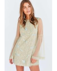 Kimchi Blue - Soft Landing Embroidered Mesh Lace Mini Dress - Lyst