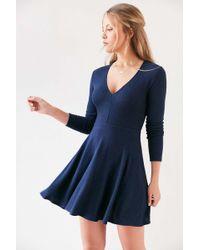 Kimchi Blue - Cozy Plunging Fit + Flare Mini Dress - Lyst