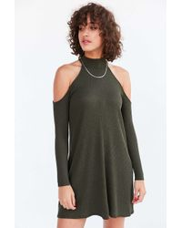 Silence + Noise - Cold Shoulder Mock-neck Frock Mini Dress - Lyst