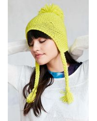 Urban Outfitters - Knit Pompom Trapper Hat - Lyst