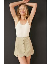 Cooperative - Scalloped Button-front Corduroy Mini Skirt - Lyst