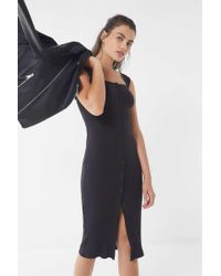 Urban Outfitters - Uo Ribbed Knit Square-neck Midi Dress - Lyst