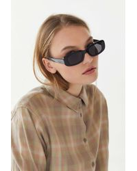 38ac0a7ba1 Urban Outfitters - Rebel Slim Rectangle Sunglasses - Lyst