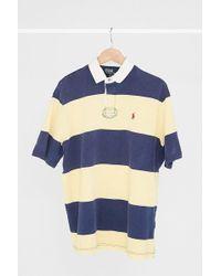 Urban Renewal - Vintage Polo Ralph Lauren Yellow + Navy Stripe Polo Shirt - Lyst