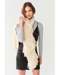 Urban Outfitters - Patchwork Fringed Knit Scarf - Lyst