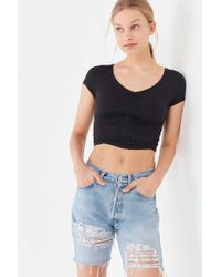 e0573af342c2a2 Recently sold out. Urban Outfitters - Uo Zadie Ruched Short Sleeve Cropped  Top ...