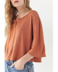 Truly Madly Deeply - Short Sleeve Henley Cropped Top - Lyst