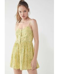 Urban Outfitters - Uo Poppy Sweetheart Button-down Romper - Lyst