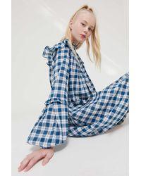 Urban Outfitters Uo Jill Balloon Sleeve Babydoll Dress - Blue