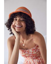 Urban Outfitters Uo Emma Striped Straw Bucket Hat - Multicolour