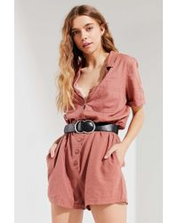 223ca5f682b3 Urban Outfitters - Uo Out + About Brown Linen Shirt Playsuit - Womens Xs -  Lyst