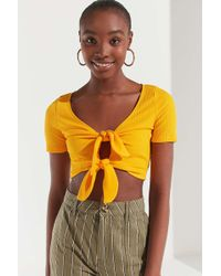 Urban Outfitters - Uo Tessa Tie-front Cropped Top - Lyst