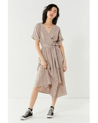 Urban Outfitters - Uo Gabrielle Linen Midi Wrap Dress - Lyst