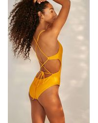 0b5be19eae10f Urban Outfitters - Uo Yellow Crossed Strap One-piece Swimsuit - Womens Xs -  Lyst