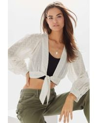 Urban Outfitters - Uo Alanis Embroidered Tie-front Blouse - Lyst