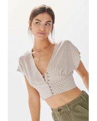 7d7a440735 Lyst - Urban Outfitters Uo Darcy Lace Trim Button-up Cropped Top in ...