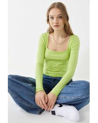 Urban Outfitters - Uo Mabel Lettuce-edge Square-neck Top - Lyst