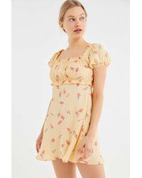 Flynn Skye - Lou Floral Puff Sleeve Mini Dress - Lyst