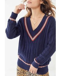 e8053b767 Urban Outfitters - Uo Alexandra Cable Knit V-neck Sweater - Lyst