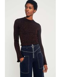 Sparkle & Fade - Metallic Cropped Jumper - Womens Xs - Lyst