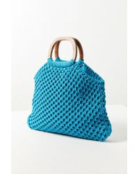 Urban Outfitters - Small Wood Handle Macrame Tote Bag - Lyst